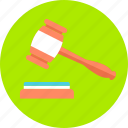 bid, court, hammer, judge, justice, law, verdict icon