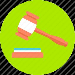 bid, court, hammer, judge, justice, law, verdict icon