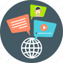 communication, global, internet, marketing, message, network, social icon