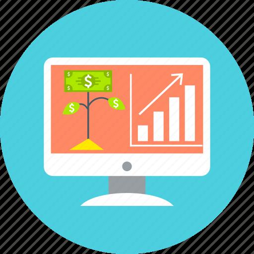 diagram, graph, growth, increase, pc, progress, statistics icon