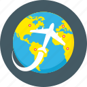 destination, discover, earth, explore, plane, planet, travelling icon