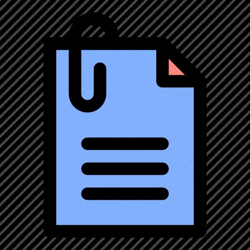 attached file, attachment, document, file, paper clip, text, work icon