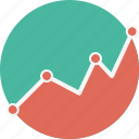 analytic, dots, fluctuation, graph, performance, rise, variation icon