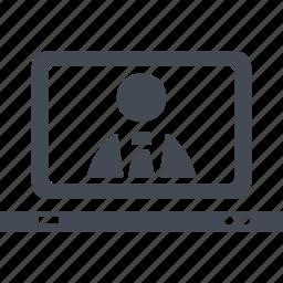 business comunications, camera, monitor, video icon