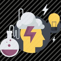 brainstorm, conceptual, creativity, development, flat design, idea, innovation icon
