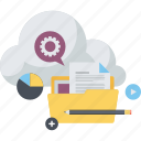 cloud, computing, data storage, flat design, internet, services, technology icon