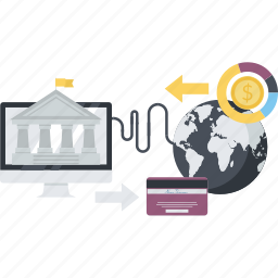 banking, e-banking, flat design, internet, money, payment, transfer icon