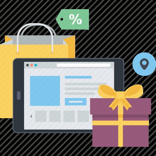 concept, flat design, m-commerce, mobile, online, sale, shopping icon