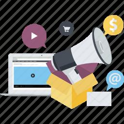 advertising, conceptual, digital, flat design, internet, marketing, social media icon