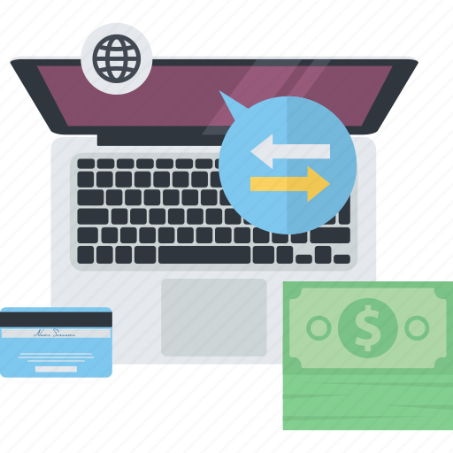 e-banking, flat design, internet, money, online, payment, transfer icon