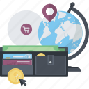 conceptual, flat design, internet, methods, online, payment, shopping icon