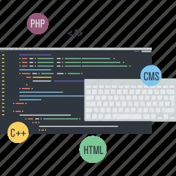 app, coding, conceptual, development, flat design, programming, website icon
