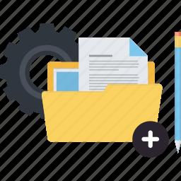 business, conceptual, development, flat design, folder, management, projects icon