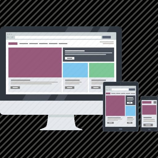 computer, design, development, flat design, mobile, responsive, website icon