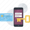 antivirus, flat design, mobile, online, payment, protection, secure icon