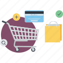 conceptual, e-commerce, flat design, online, payment, pocess, shopping icon