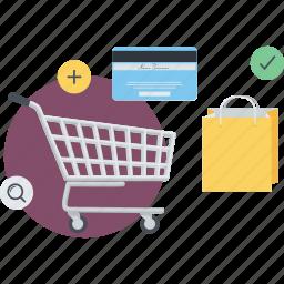 conceptual, e-commerce, flat design, online, payment, pocess, shopping icon