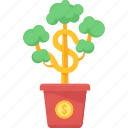 agriculture, business, growth, money, money plant, plant, startup icon