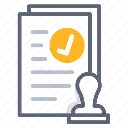 agreement, allow, approve, business, contract, pass, stamp icon