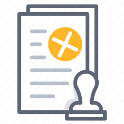 agreement, business, contract, deny, refuse, reject, stamp icon