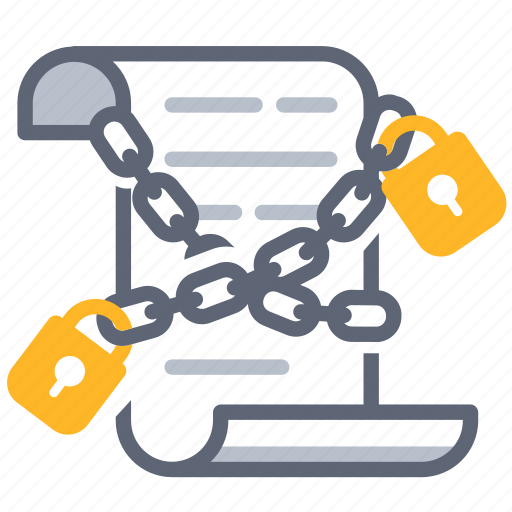 agreement, business, chain, contract, lock, obligate, secure icon