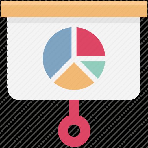 business graph, flipchart, graph presentation, growth chart, presentation screen, projection screen icon