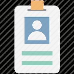employee card, identification, identity badge, identity card, student card, volunteer card icon