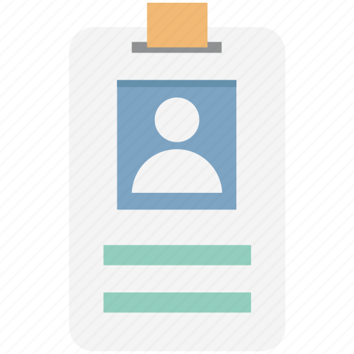 employee card, identification, identity badge, identity card, student card, volunteer card icon