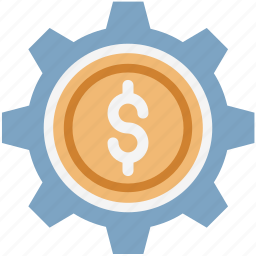 cog, commerce, dollar, dollar with cog, economy, gear, investment icon