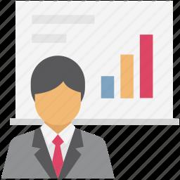 analytics, art board, business presentation, chalkboard, graph presentation, presentation, whiteboard icon