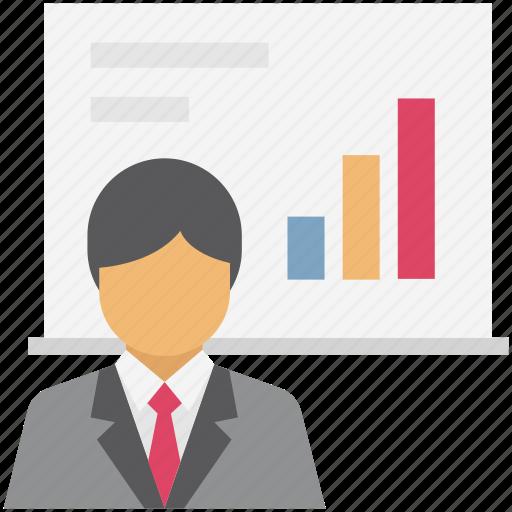 Analytics, art board, business presentation, chalkboard, graph presentation, presentation, whiteboard icon - Download on Iconfinder
