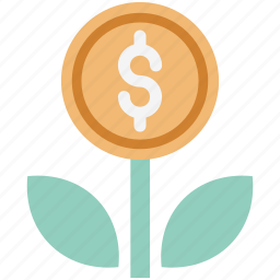business expand, business growth, dollar, dollar growing, dollar plant, investment, money plant icon