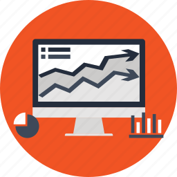 analytics, business, desktop, graph, marketing, pc icon
