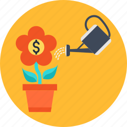 business, coin, flower, growing, growth, money, plant icon