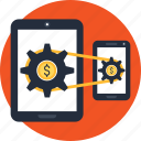 business, coin, internet, making, money, smartphone, tablet icon