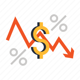 currency, dollar, falling, money, percent, rate icon