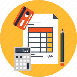 bill, calculator, card, invoice, paper, payment, receipt icon