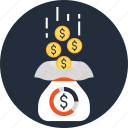 bag, cash, funds, money, raising, sack, savings icon