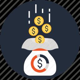 bag, cash, funds, money, raising, sack, savings icon