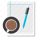 coffee cup, document, office paper, paper, pen icon