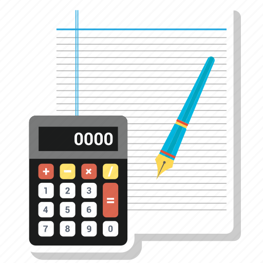Calculate, calculation, text, notepad, note, pen, page icon