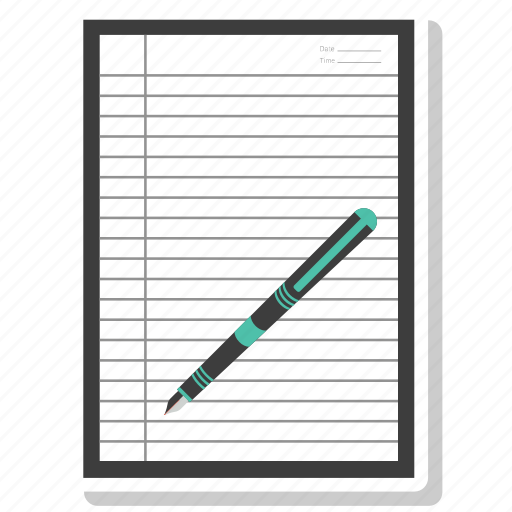 contract, office paper, paper, pen, sign icon
