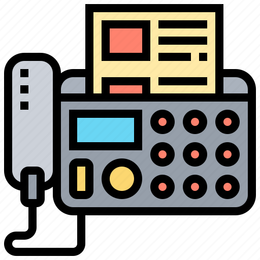 fax, office, printer, telephone, transfer icon