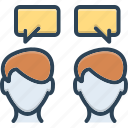 chatting, chitchat, communication, conversation, discussion, parley, talking icon