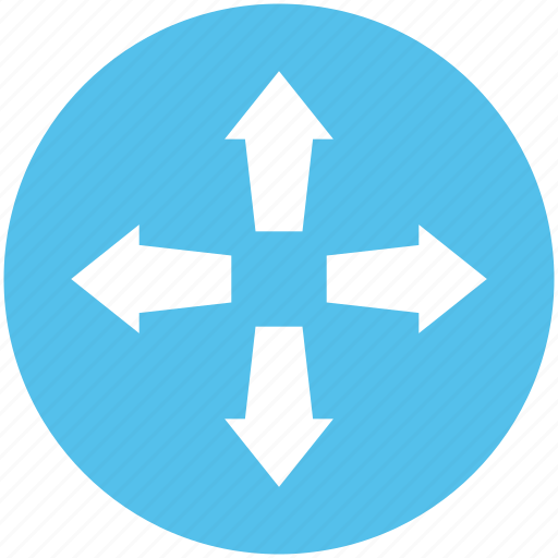 arrows, cardinal points, directional, four arrows, intersection icon