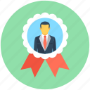 badge, certified, certified businessman, promotion, ribbon badge icon