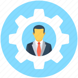 cog, gear, leader, man with cog, manager icon