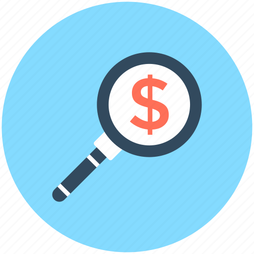 business, dollar, dollar search, magnifier, search money icon