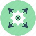 arrows, cog, cogwheel, four arrows, strategy icon