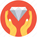 diamond, hands, insurance, savings, wealth icon